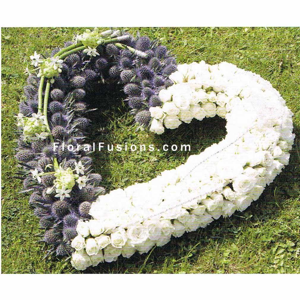 Eryngium Spray Rose Heart Funeral Flowers Leicester