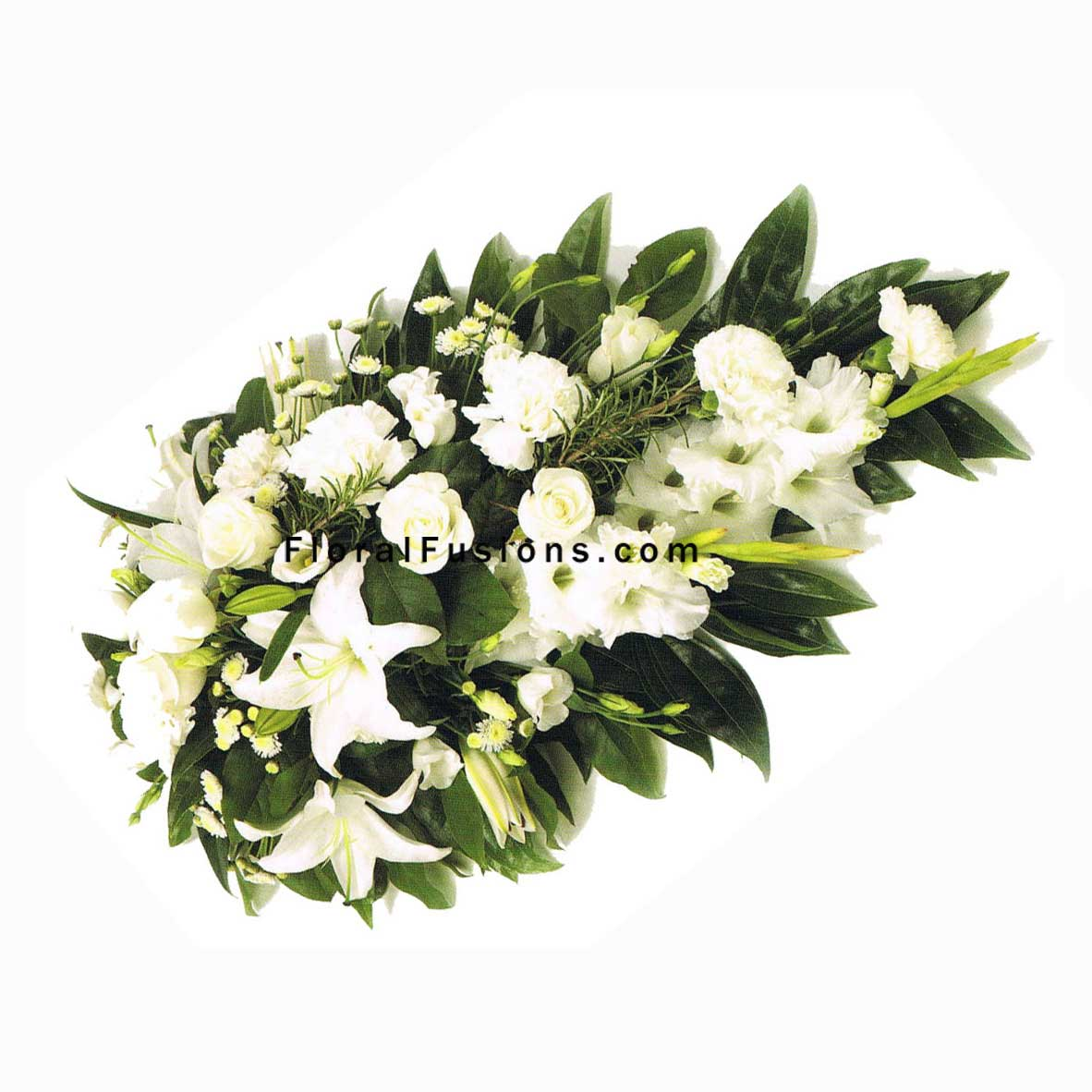White Lily Roses Carnations Spray Funeral Flowers Leicester